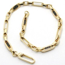 18k yellow gold bracelet 750, tubes and alternating oval, with black zirconia image 1