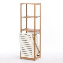 Shelf Wood, Bamboo Hamper Storage Display Corner Bathroom Shelf - $142.69
