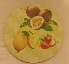 1 Natural Bamboo Heat Pad, Kitchen Decor, FRUITS, round - $7.91
