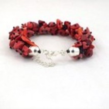 Bead crochet bracelet with red coral stone, beaded seed beads bracelet f... - $17.00