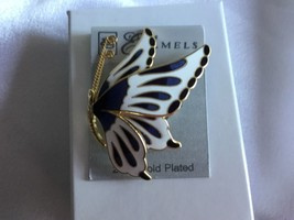 VINTAGE BUTTERFLY ENAMEL Gold Plated Brooch Pin - $16.16