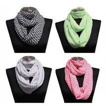 Womens Lightweight Sheer Chiffon Chevron Infinity Circle Snood Scarf Hijab - $6.02
