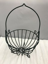 Green Plastic Coated Wire Fruit Basket Tall Handle for Tabletop or Hanging - $18.99