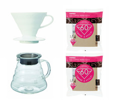 3 Hario V60 Products - 600 ml Glass Kettle, Porcelain Dripper and 200 Fi... - $48.50