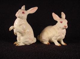 Vintage 1960'-70's 2 Lefton White Rabbit Figurines - $29.99