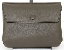 CELINE Leather Clutch Bag Green Olive Gold Pouch Front Flap Snap - $475.48