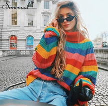 Simenual Rainbow turtleneck sweaters women winter 2018 jumpers knitted c... - $53.04