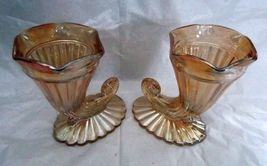 2X Jeanette Carnival Glass Horn Of Plenty Cornucopia Marigold Footed Vases - $21.99