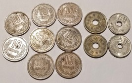 Lot Of 12 Vintage Japanese Coins 1971-1980 5 Yen, 10 Yen, 50 Yen Good Lu... - $22.27