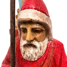 Folk Art Santa Claus Figurine Resin Tree Stick Sack Toys Collectible - $23.76