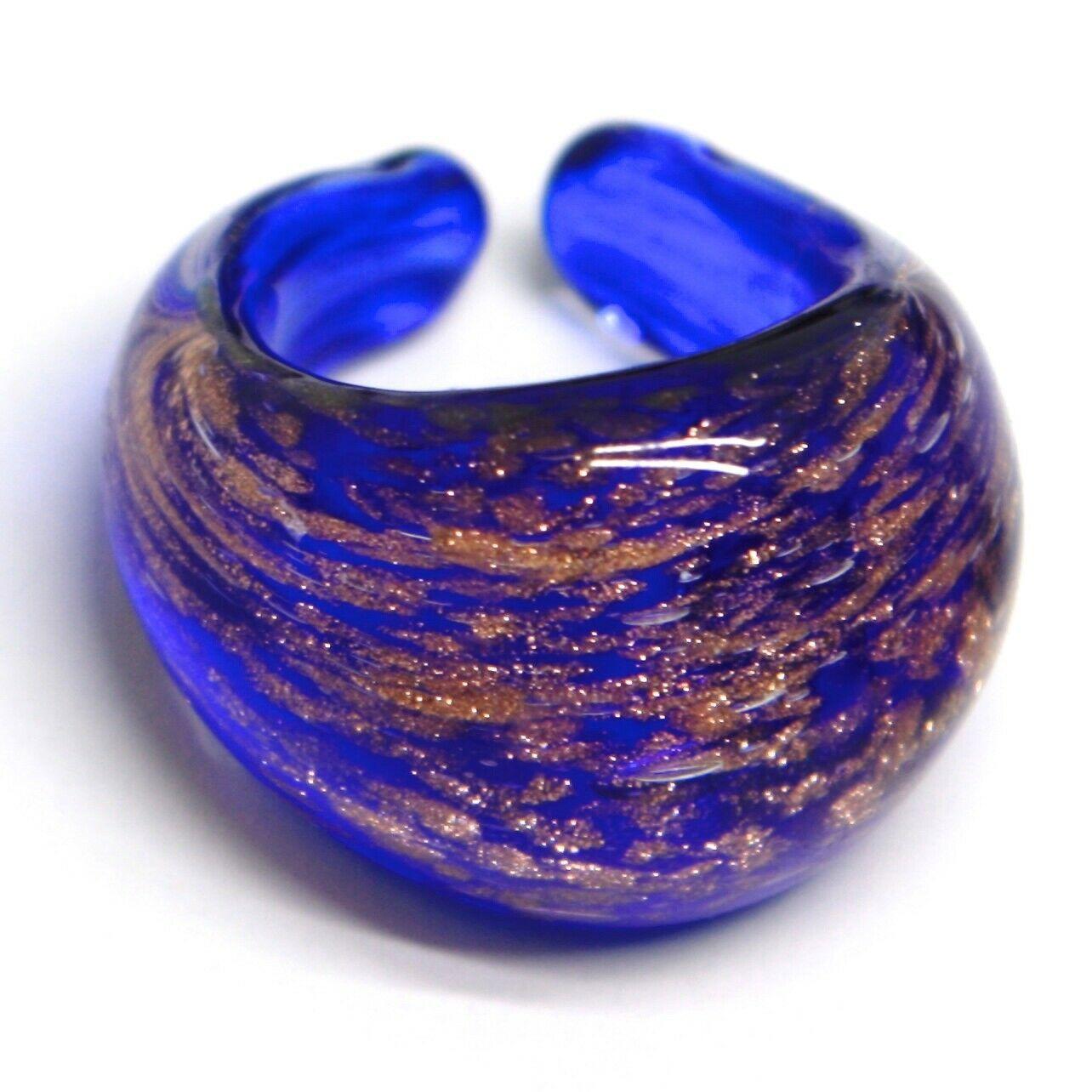 Ring Antique Murrina, Murano Glass, Blue, Glitter Orange, Convex, Band