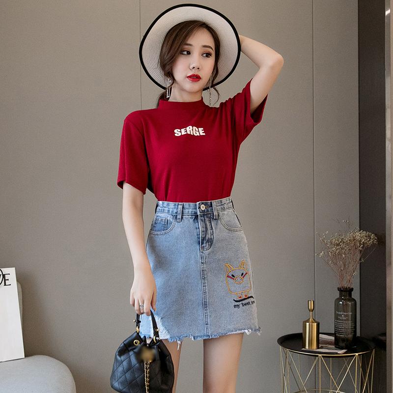 Mini Denim Skirt 2019 Summer Wild New Large Size High Waist Slim Fit A line Stud image 2