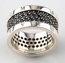 Thomas Sabo argento Sterling & tre linee nero zirconi cubici fedina misu... - $249.49
