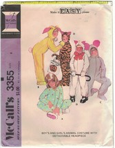 Vintage McCall's 3355 Hooded Animal Costume Pattern Child Size 8 Bunny, Tiger Un - $6.99