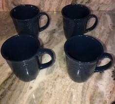 Royal Norfolk royal Blue Stoneware Coffee Mugs Dinnerware Cups-Set Of 4-SHIP 24H - $29.33