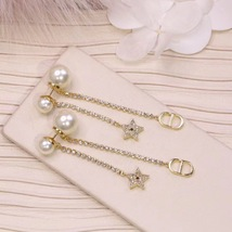 AUTH Christian Dior 2020 GOLD CRYSTAL J'ADIOR DANGLE STAR PEARL EARRINGS