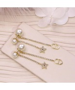 AUTH Christian Dior 2020 GOLD CRYSTAL J'ADIOR DANGLE STAR PEARL EARRINGS  - $459.99