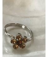 Estate Dainty Cookie Lee Orange & Bronze Rhinestone Daisy Flower Adjusta... - $9.49