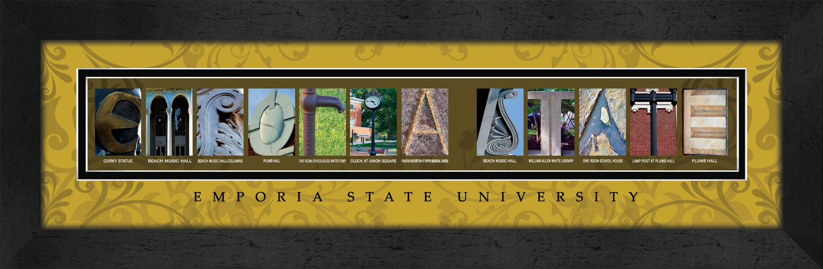 Primary image for Emporia State University Officially Licensed Framed Campus Letter Art