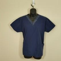 Angel Women's Scrubs Blue Jeweled V Neck Size Small - £9.15 GBP