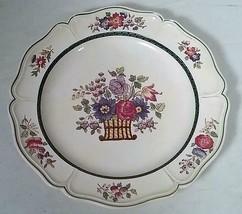 """1922 WEDGWOOD ETRURIA ENGLAND FLORAL BASKET 10"""" DINNER PLATE - $21.93"""