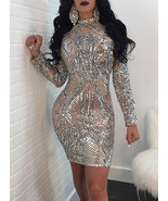 Women's Silver Semi-sheer Sequined Bodycon Mini Dress - Long Sleeves - $27.00