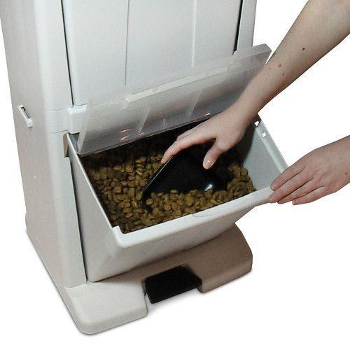 Storage Dog Feeder Food Bowl Dispenser Cabinet Container Pet Box Stand Chest Bin