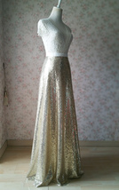 Gold Sequined Maxi Skirt High Waist Full Sequined Wedding Bridesmaid Maxi Skirts image 4