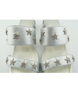CHANEL Size 8 PASEO ICONIC Silver Stars Slide Mules Sandals Shoes 38 1/2 - $449.00