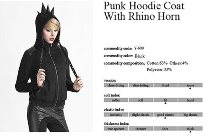 New PUNK RAVE Heavy Metal Gothic Rock Hoodie Jacket Y-612 ALL STOCK IN AUSTRALIA