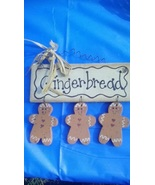 Wooden Gingerbread Trio Decoration  Ornament - $4.00