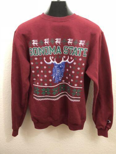 Champion Red Fleece Sonoma State Seawolves Ugly Christmas Sweatshirt Size S