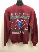 Champion Red Fleece Sonoma State Seawolves Ugly Christmas Sweatshirt Size S - $17.81