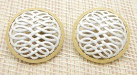 CROWN TRIFARI Gold Tone White Enamel Round Openwork Clip Earrings Vintage - $29.70