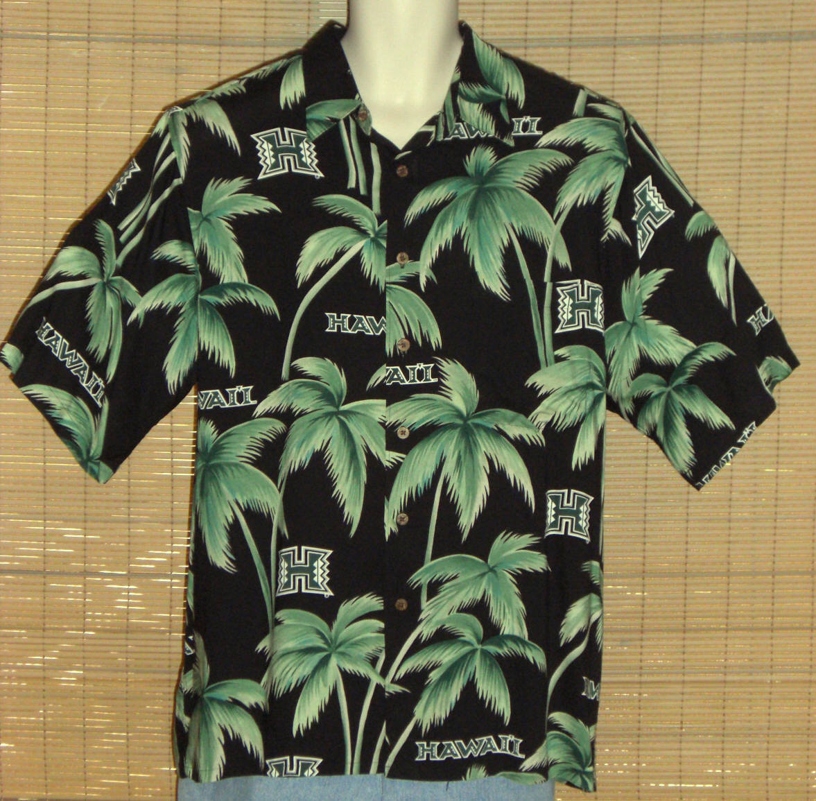 Primary image for Reyn Spooner Sports Hawaiian Shirt Black Green Palm Trees Hawaii Size Large