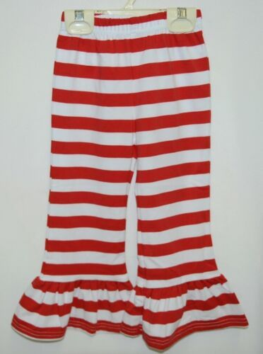 Blanks Boutique Girls Red White Stripe Ruffle Pants Size 18 Months