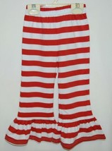 Blanks Boutique Girls Red White Stripe Ruffle Pants Size 18 Months image 1