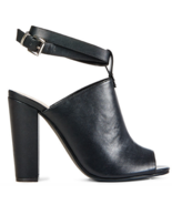 NEW JustFab Damienne Black Heel With Buckle Strap US Size 7.5 - $31.25