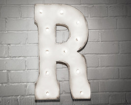 Letter R - SOLAR POWERED Rustic Vintage Metal Alphabet Marquee Light Up ... - $113.85+