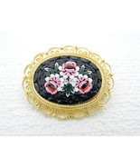 Vintage Italy Gold Toned Filigree Micro Mosaic Floral Flowers Glass Pin ... - $49.50