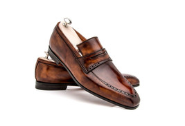Handmade Men's Brown Color Dress/Formal Slip Ons Loafer Leather Shoes image 1