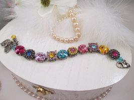 """Swarovski Crystals/Cup chain bracelet/""""Carousel""""/Floral Bracelet/12mm br... - $89.00"""