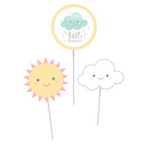 "Sunshine Baby Shower 4"" x 6"" Cloud, 6"" x 6"" Sun&Circle Centerpiece Stick... - £24.34 GBP"