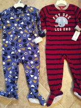 Nwt Carters Sz 24 Mo Blanket Sleepers Go Team, Future Legend Footed Lot Of 2 - $24.74