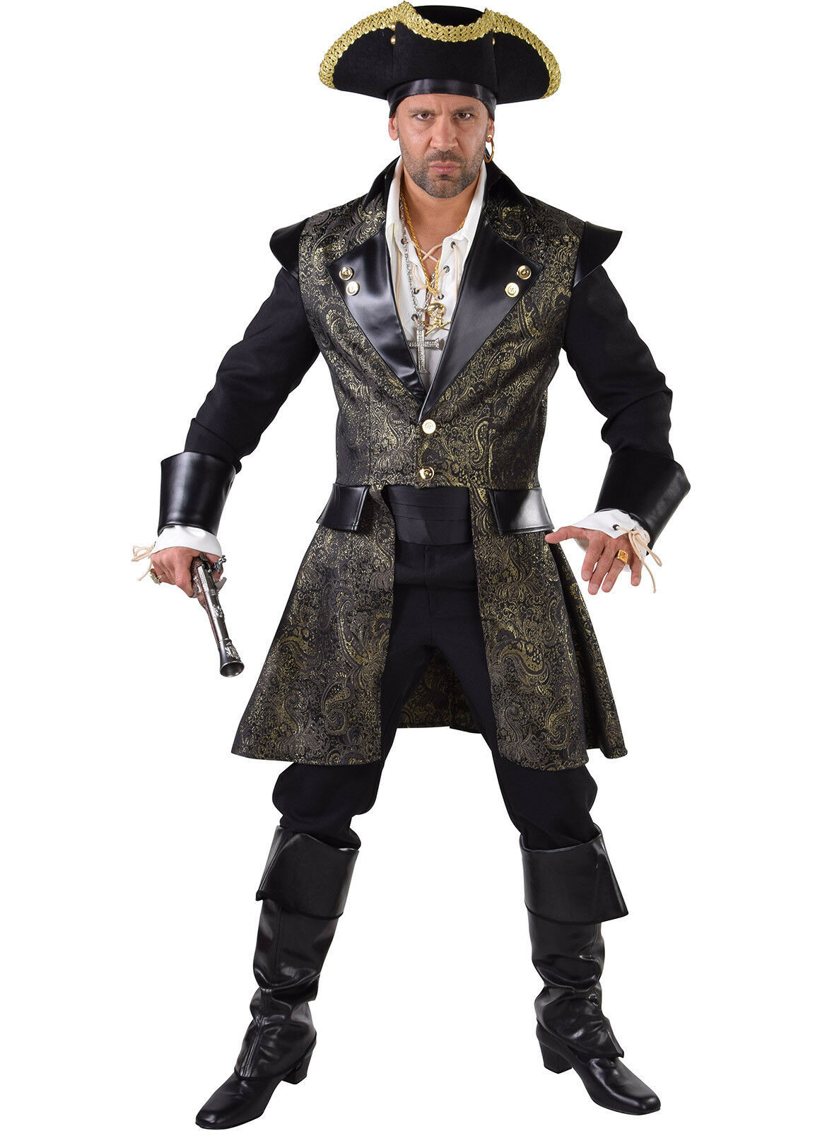 Deluxe Quality  PIRATE Jacket - Black / Gold Brocade