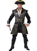 Deluxe Quality  PIRATE Jacket - Black / Gold Brocade  - $45.13