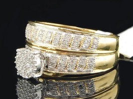 Women's Yellow Gold Plated Silver 925 Bridal Wedding Ring Set Round Cut White CZ - $140.99