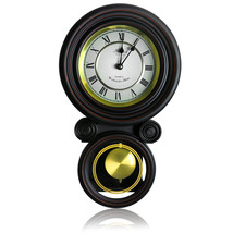 Bedford Clock Collection 16.5 Inch Contemporary Round Wall Clock with Pendulum - $85.42
