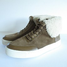 Via Spiga Sneakers 6 36 Brown Leather Suede Shearling Lined High Top Chu... - $18.49