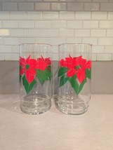 Vintage 70s Red Poinsettia and Green leaves Christmas cocktail glasses
